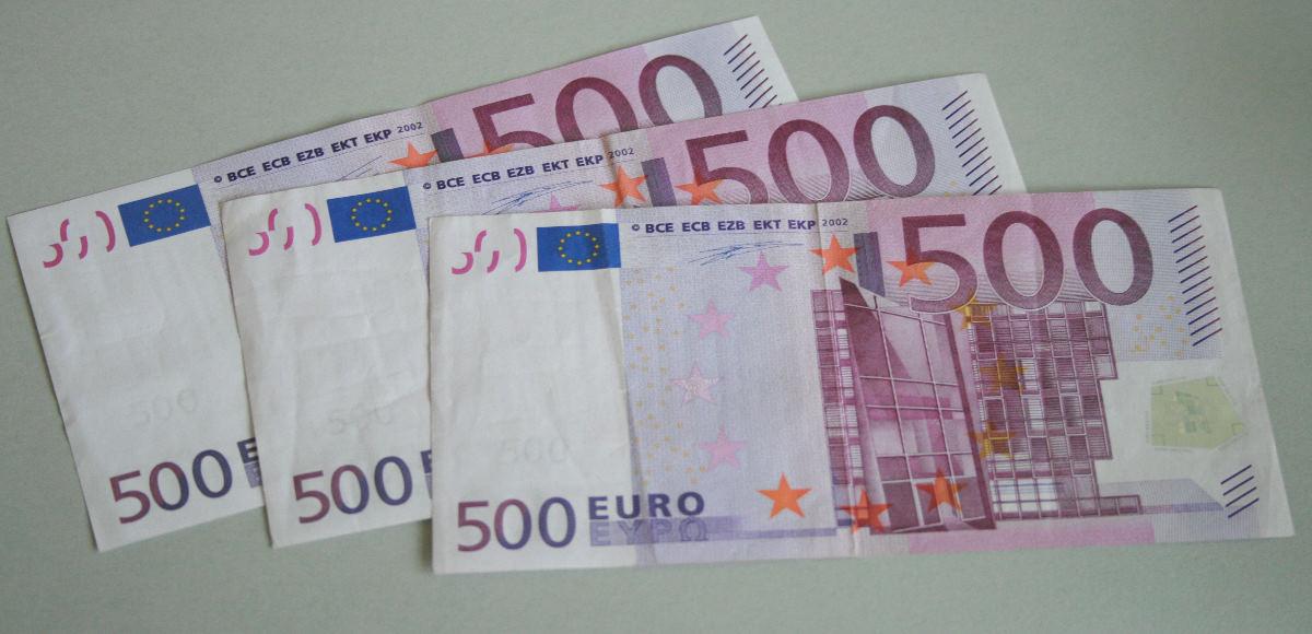 Drei 500 Euro-Scheine